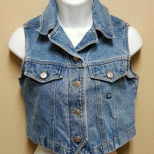 Jordache 8 10 Blue Jean Denim Short Crop Vest